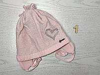 Шапка для девочки демисезонная на завязке с сердечком Люрекс Размер 44-46 см, фото 4