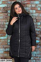 Женское зимнее пальто на синтепоне с капюшоном Большого размера, фото 1