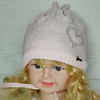 Шапка для девочки демисезонная на завязке с сердечком Люрекс Размер 44-46 см, фото 2