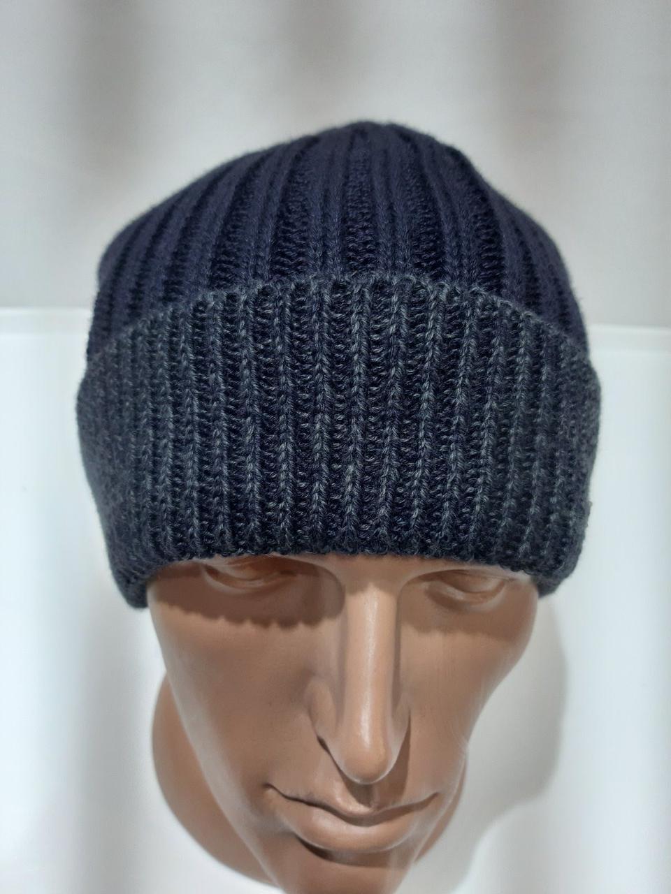 Модная вязаная зимняя мужская шапка очень теплая на флисе темно-синяя Турция