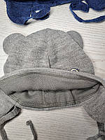Шапка для хлопчика демісезонна на завязці з вушками Розмір 40-42 см Вік 1-3 місяців, фото 10