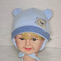 Шапка для хлопчика демісезонна на завязці з вушками Розмір 40-42 см Вік 1-3 місяців, фото 2