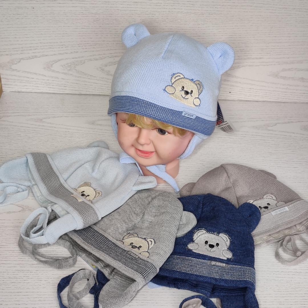 Шапка для хлопчика демісезонна на завязці з вушками Розмір 40-42 см Вік 1-3 місяців