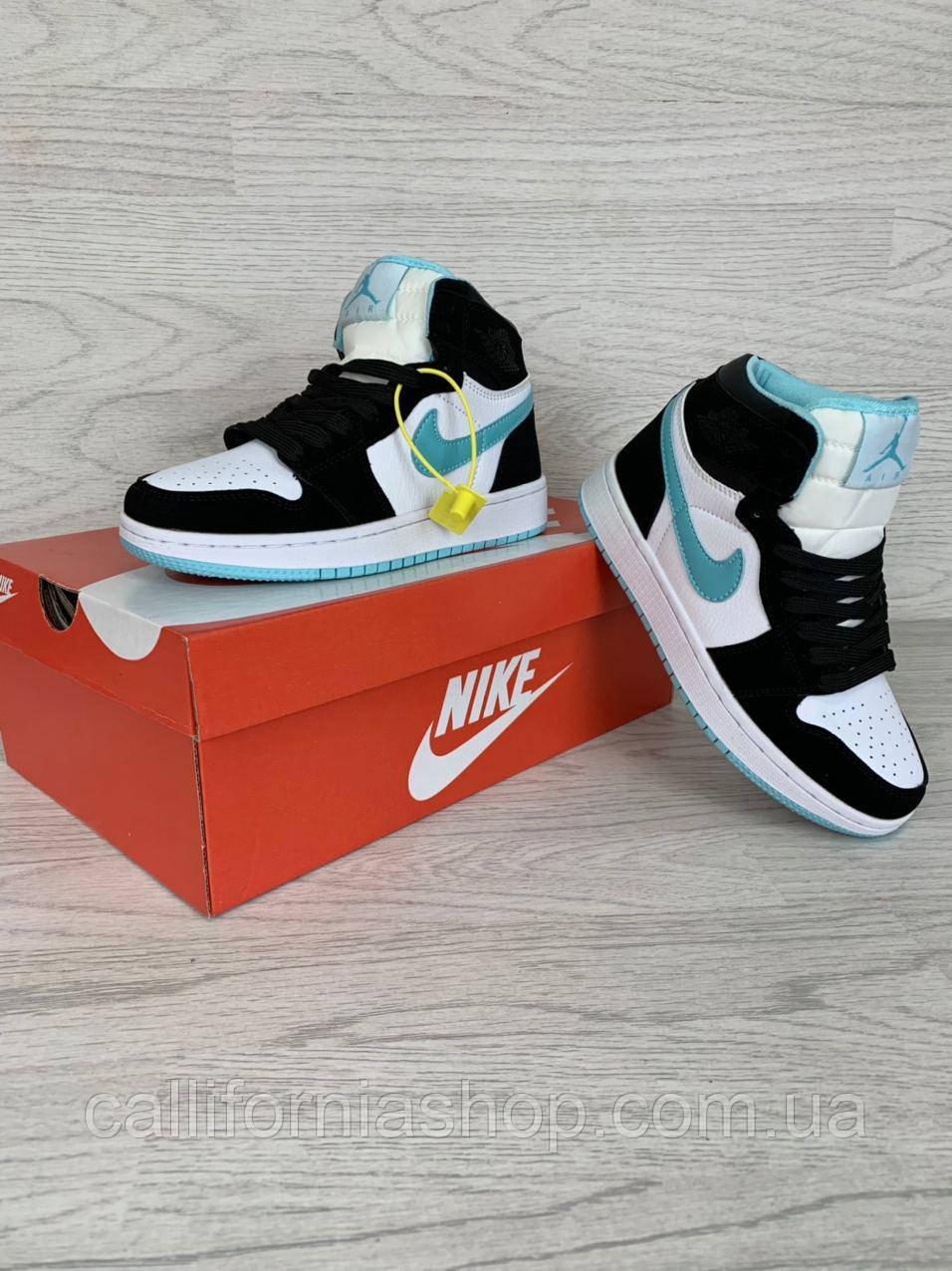 Кроссовки женские Nike Air Jordan 1 Retro ( Найк Аир Джордан 1 Ретро ) цвет белый с мятным