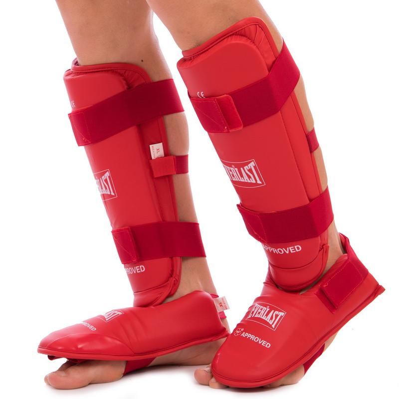 Защита голени с футами для единоборств PU EVERLAST BO-3958 S, Красный