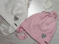 Шапочка для девочки демисезонная на завязке с сердечком блеск Размер 42-44 см, фото 10
