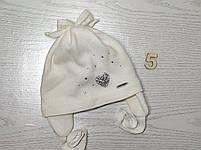Шапочка для девочки демисезонная на завязке с сердечком блеск Размер 42-44 см, фото 8