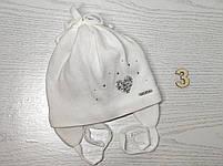 Шапочка для девочки демисезонная на завязке с сердечком блеск Размер 42-44 см, фото 6