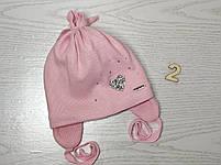 Шапочка для девочки демисезонная на завязке с сердечком блеск Размер 42-44 см, фото 5