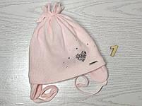 Шапочка для девочки демисезонная на завязке с сердечком блеск Размер 42-44 см, фото 4