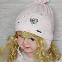 Шапочка для девочки демисезонная на завязке с сердечком блеск Размер 42-44 см, фото 2