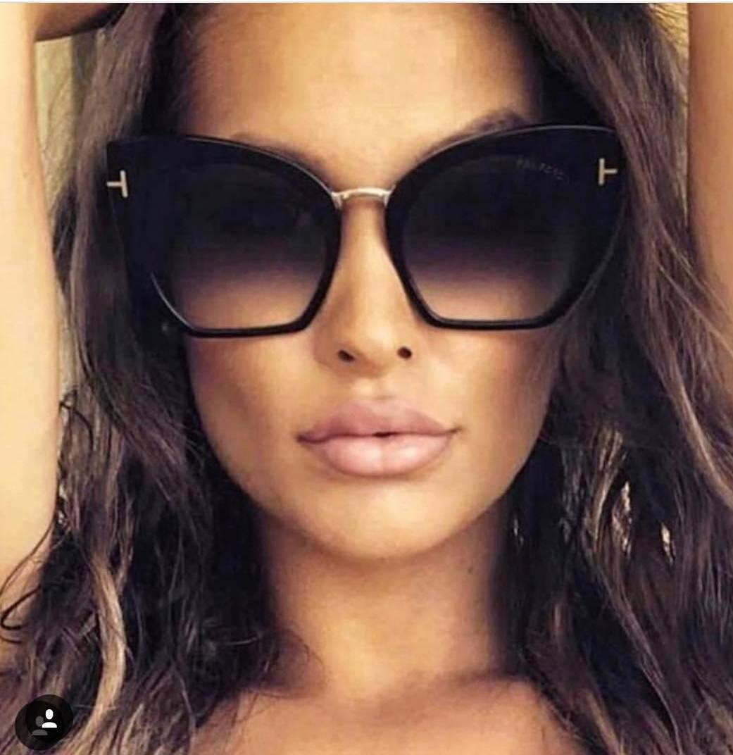 Женские солнцезащитные очки бабочки черные