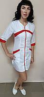 Женский медицинский халат Корра хлопок на молнии три четверти рукав, фото 1