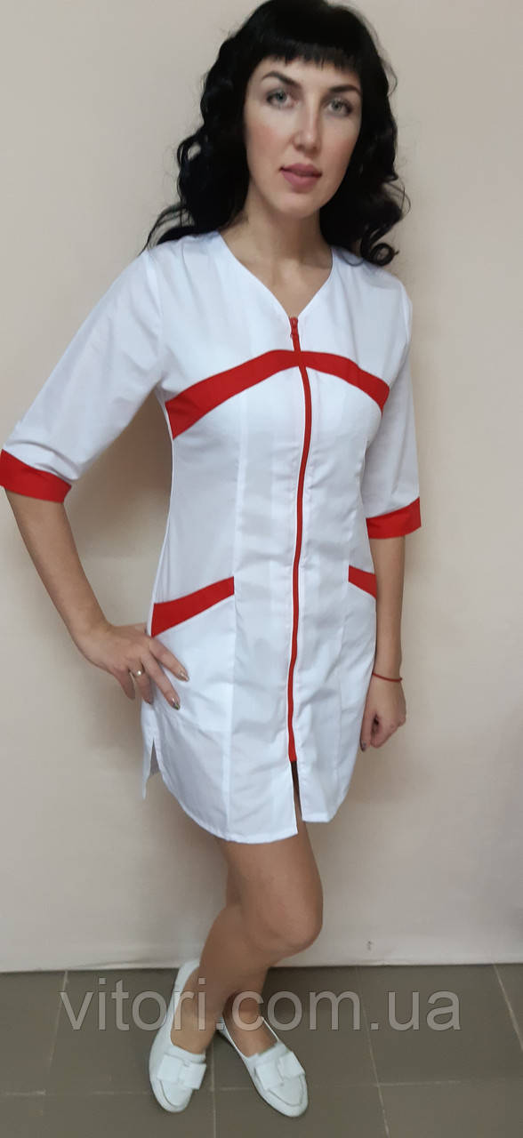Женский медицинский халат Корра хлопок на молнии три четверти рукав