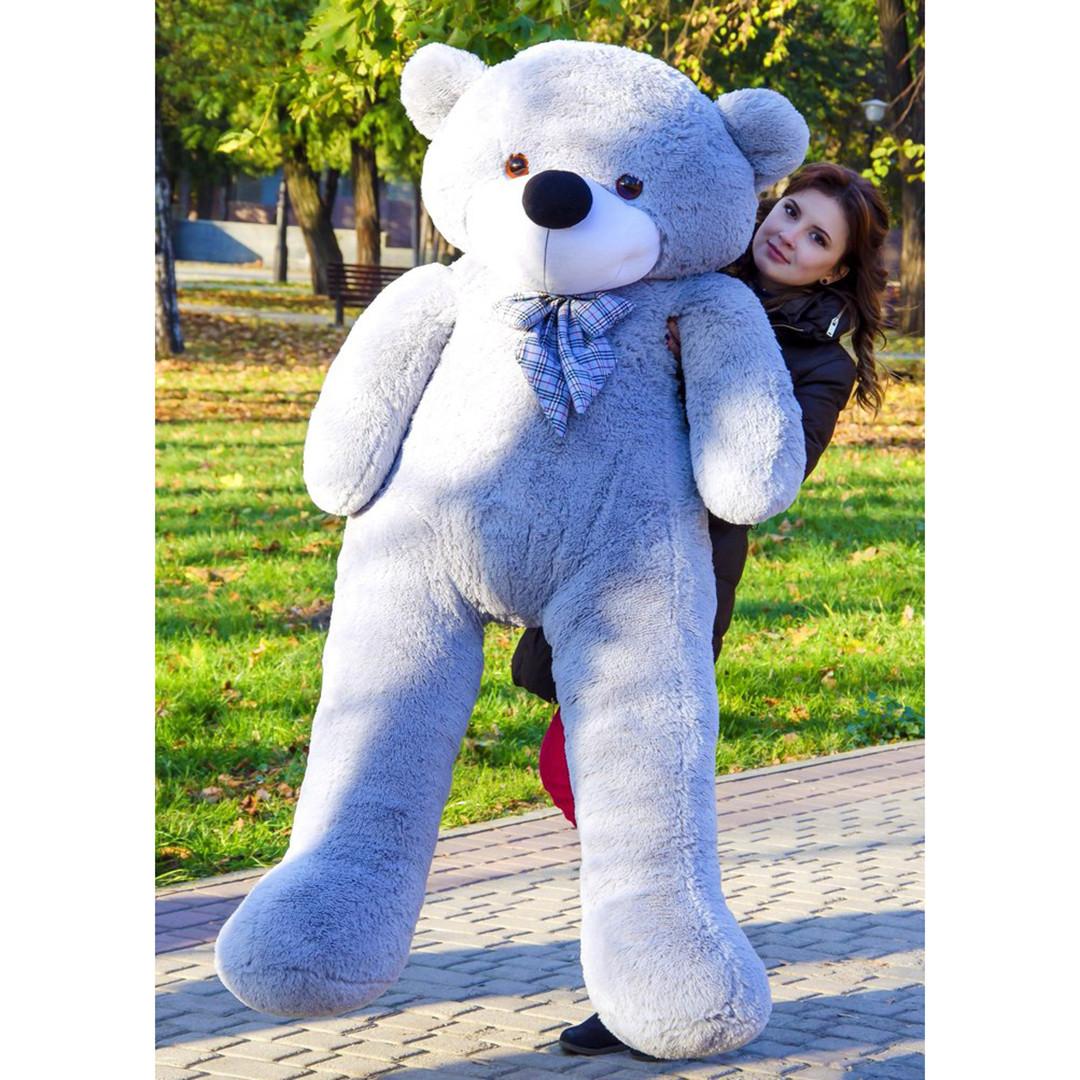 Плюшевые медведи: Плюшевый медвежонок Нестор 2 метра (200 см), Серый