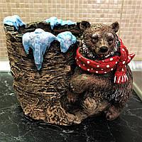 Декоративное кашпо для цветов Мишка зима, 25 см на 25 см