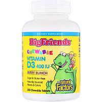"""Natural Factors """"Большие друзья"""" жевательный витамин D3 с ягодным вкусом, 400 МЕ, 250 жевательных таблеток"""