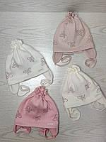 Шапочка для дівчинки демісезонна на завязці з метеликами Розмір 42-44 см Вік 3-7 місяців, фото 9
