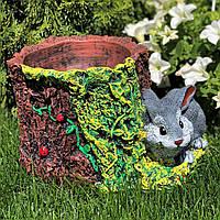 Красивое цветочное кашпо гипсовое с декором Заяц с пнем
