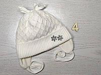 Шапочка для дівчинки демісезонна на завязці з заворотом кружевна Розмір 36-38 см Вік на новонародженних, фото 7