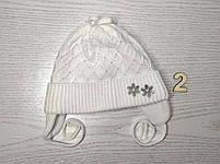 Шапочка для дівчинки демісезонна на завязці з заворотом кружевна Розмір 36-38 см Вік на новонародженних, фото 5