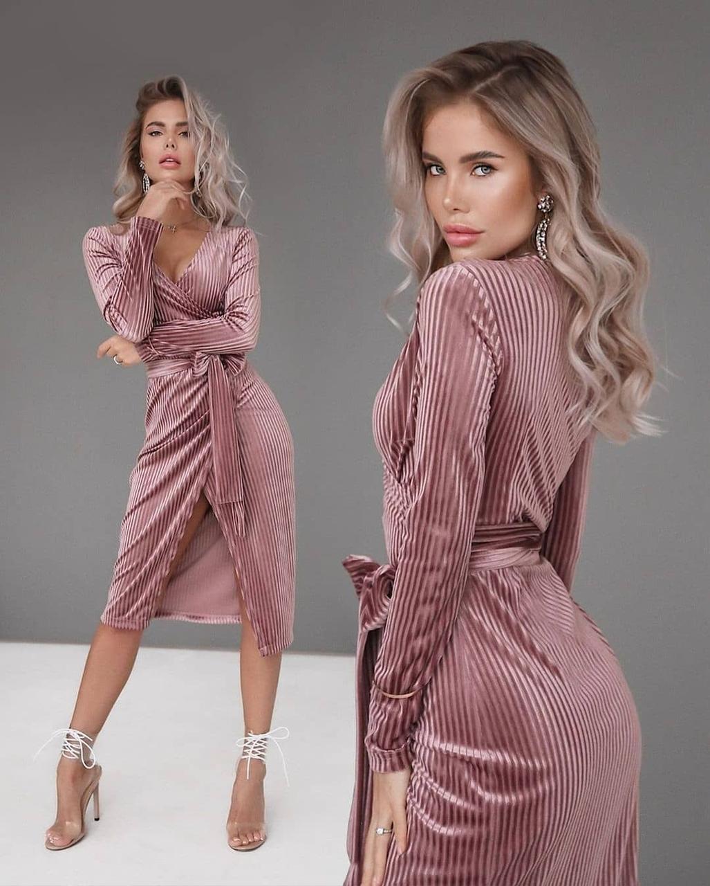 Стильное женское платье на запах пудра размеры 42 44 46 48 50 52  Новинка 2021 расцветки 2