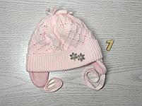 Шапочка для дівчинки демісезонна на завязці з заворотом кружевна Розмір 36-38 см Вік на новонародженних, фото 4