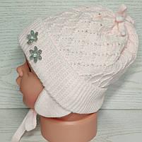 Шапочка для дівчинки демісезонна на завязці з заворотом кружевна Розмір 36-38 см Вік на новонародженних, фото 3