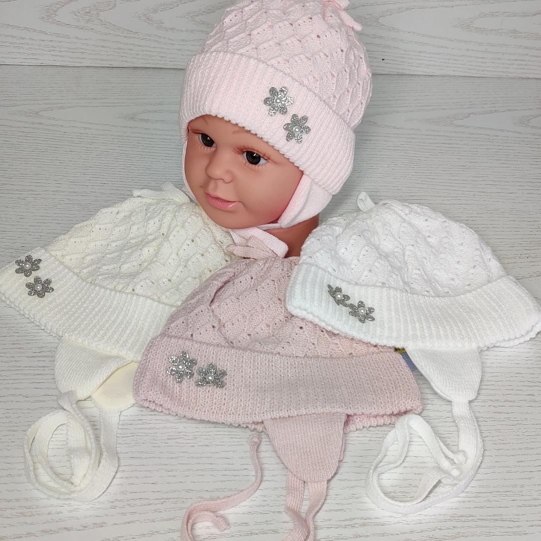 Шапочка для дівчинки демісезонна на завязці з заворотом кружевна Розмір 36-38 см Вік на новонародженних