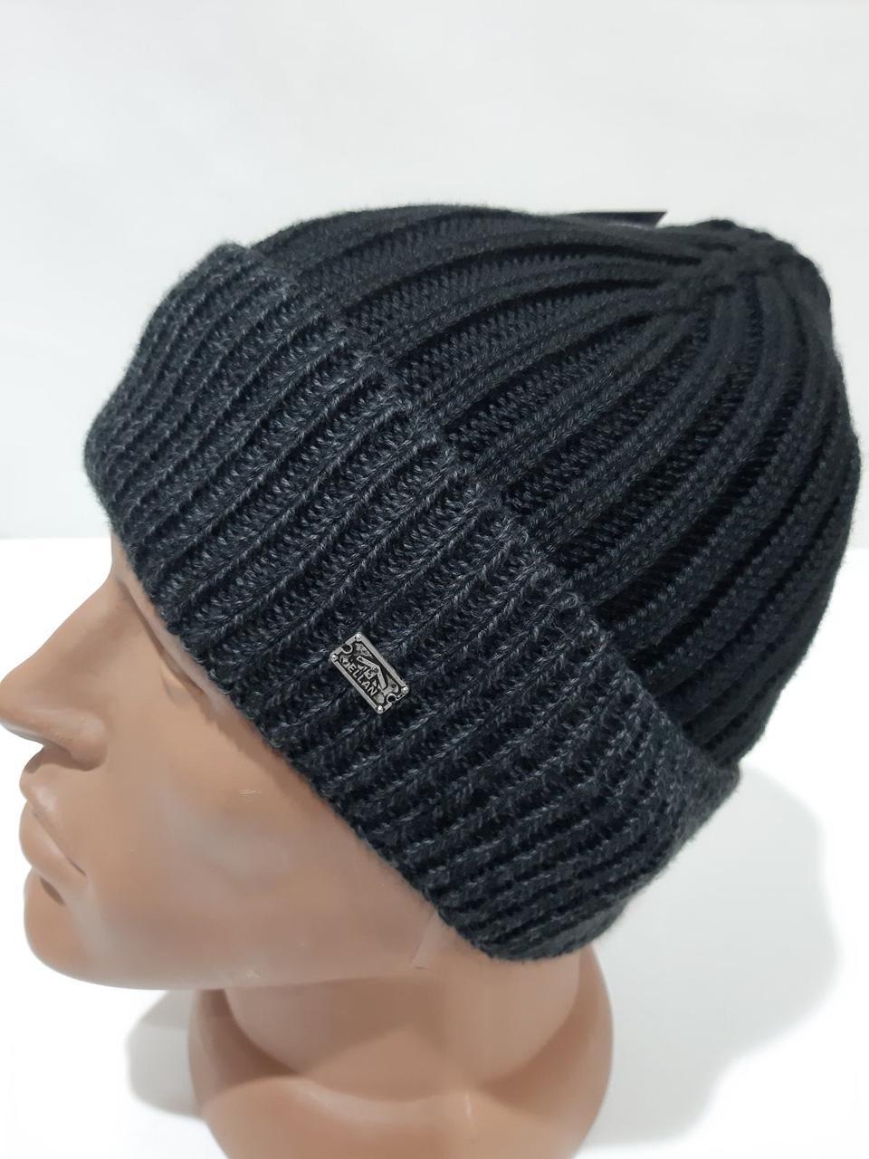 Стильна чоловіча зимова шапка дуже тепла на флісі чорна Туреччина