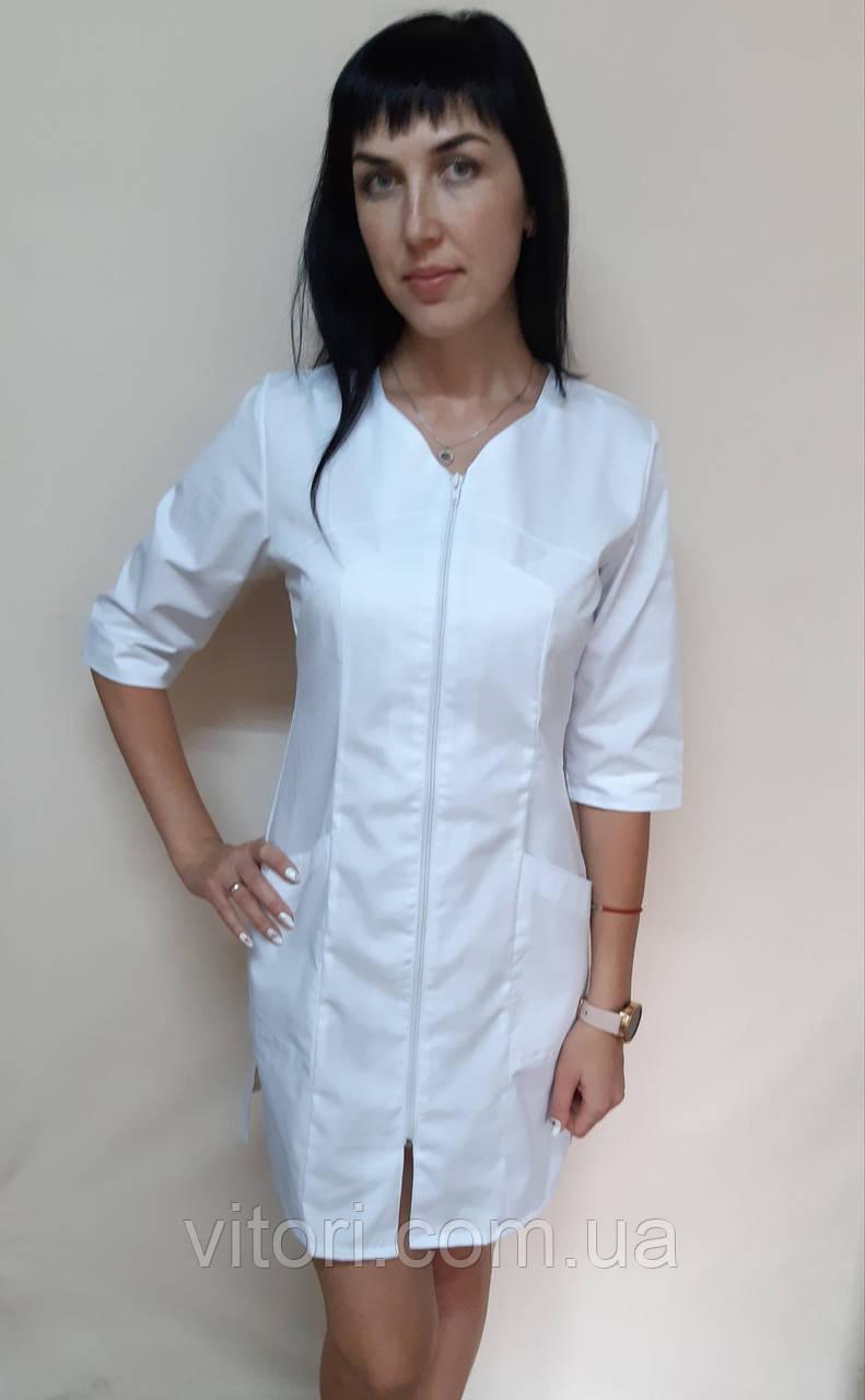 Жіночий медичний халат Корра бавовна на блискавці три чверті рукав