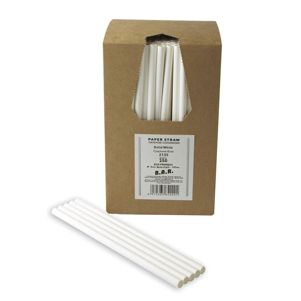 "Трубочки бумажные TM B.A.R. ""Белая""  197x8 Мм, 250 Шт."