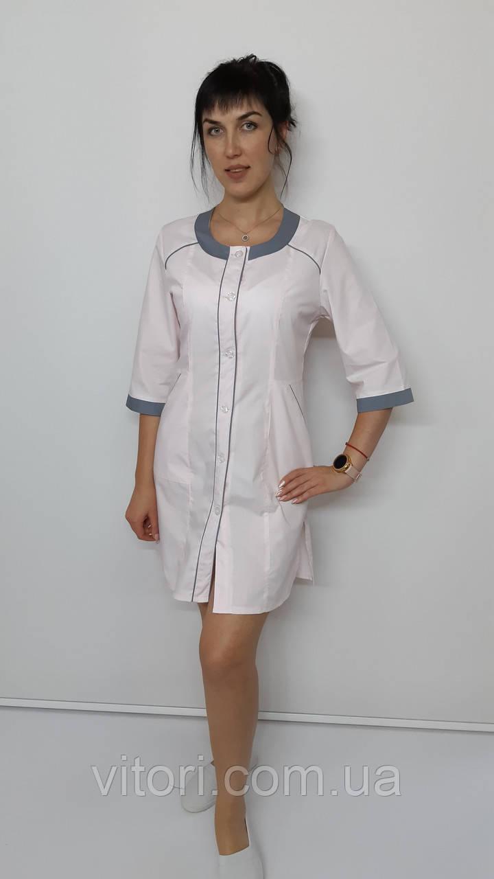 Медичний жіночий халат Ліза бавовна три чверті рукав