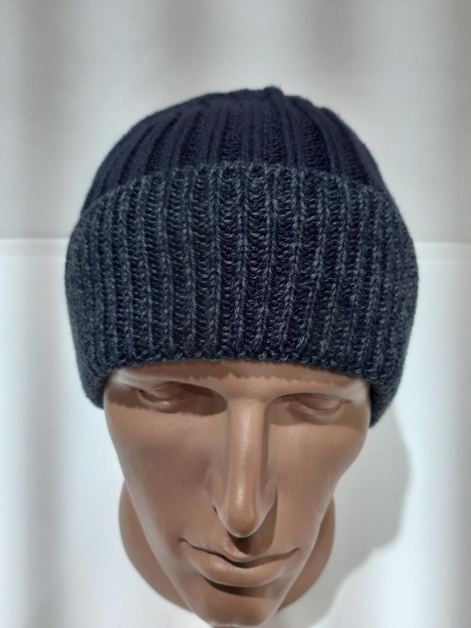 Вязаная мужская зимняя шапка очень теплая на флисе темно-синяя Турция