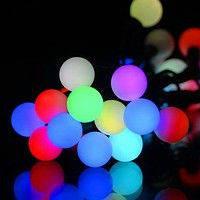 Новогоднее украшение оптом, LED гирлянда Шарики 10м: по 3 разноцветных светодиода в каждом