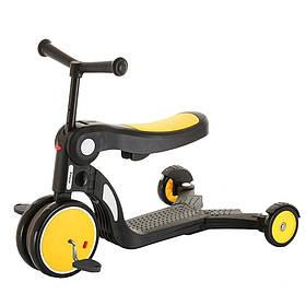 Дитячий триколісний самокат 5 в 1 (з функцією беговела і велосипеда) Tilly GS-0057 Yellow Жовтий | Pituso