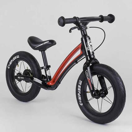 """Велобег Corso """"Prime C7"""" 25303 (1) ЧЕРНО-КРАСНЫЙ, колесо 12"""", магниевая рама, задний ручной тормоз, в коробке"""