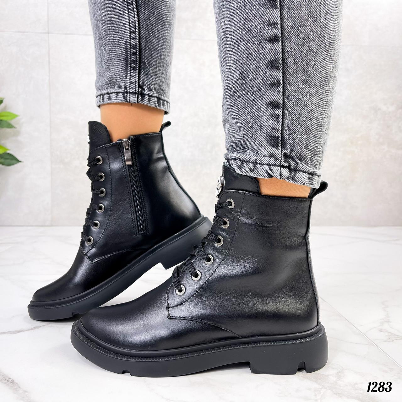 Женские ботинки ДЕМИ черные натуральная кожа весна - осень