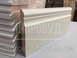 """""""Викториан"""" 140х20 мм, Высокий белый деревянный плинтус из Ольхи"""