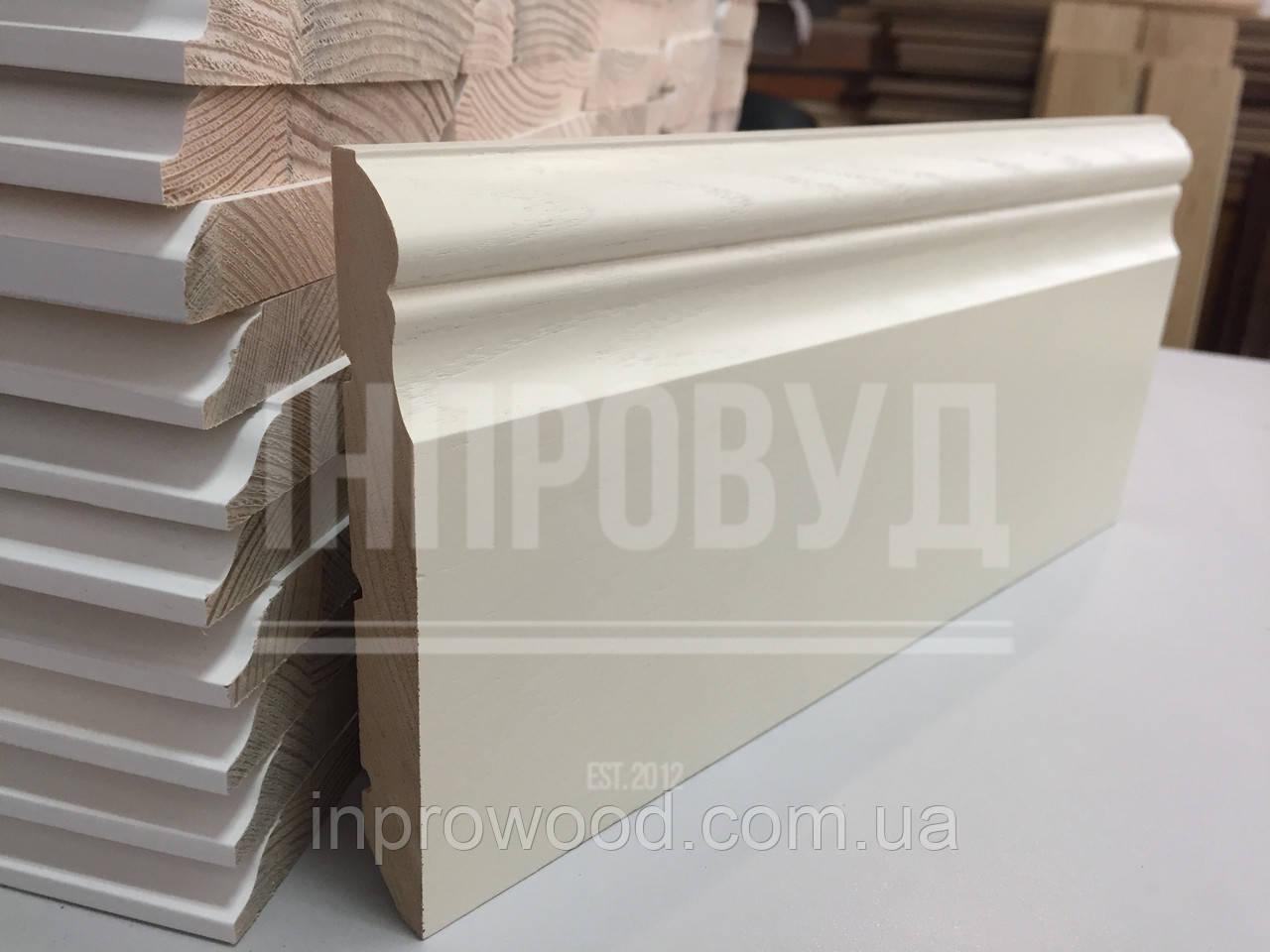 """""""Викториан"""" 100х20 мм, Высокий белый деревянный плинтус из Ольхи"""