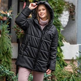 Женская черная куртка из искусственной кожи на синтепухе 200 размер SM, LXL