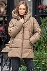 Женская куртка из искусственной кожи на синтепухе 200 бежевая размер SM, LXL