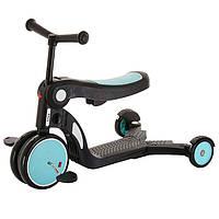 Детский трехколесный самокат 5 в 1 (с функцией беговела и велосипеда) Tilly GS-0057 Blue Голубой | Pituso