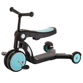 Дитячий триколісний самокат 5 в 1 (з функцією беговела і велосипеда) Tilly GS-0057 Blue Блакитний | Pituso