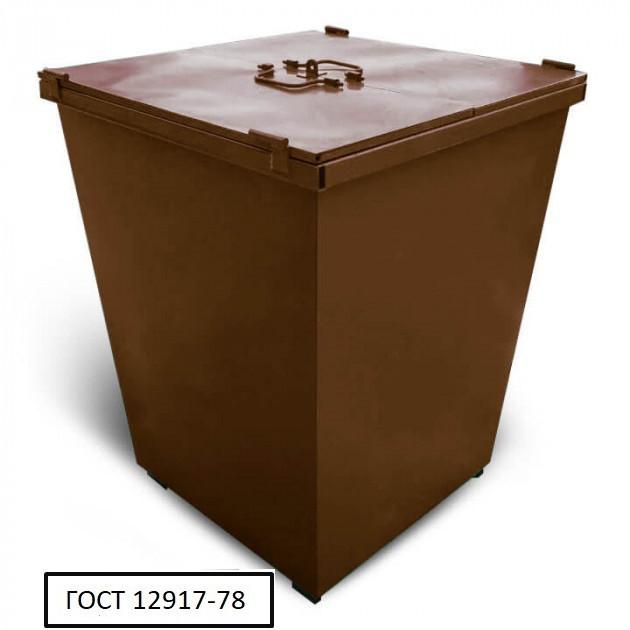 Бак металевий з кришкою V-750 л, коричневий
