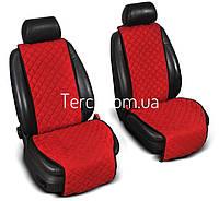 Накидки на передние сиденья из Алькантары. Универсальные автомобильные накидки премиум качества! Красные .