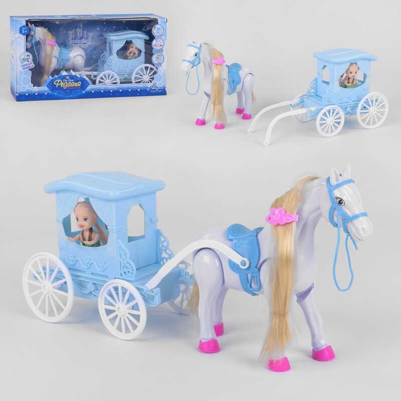 "Карета 686-799 (24/2) ""Карета принцессы"", музыка, лошадка ходит,  на батарейках, в коробке"