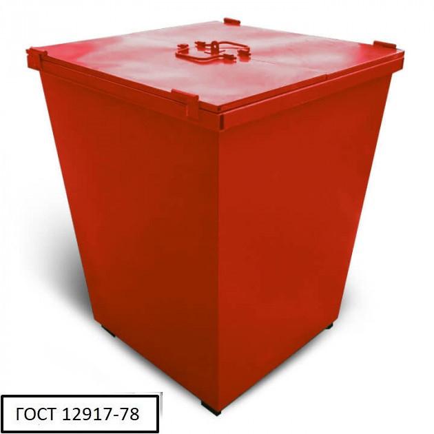 Бак металевий з кришкою V-750 л, червоний