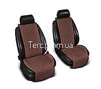 Накидки на передние сиденья из Алькантары. Универсальные автомобильные накидки премиум качества! Коричневые.