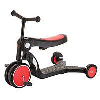 Детский трехколесный самокат 5 в 1 (с функцией беговела и велосипеда) Tilly GS-0057 Red Красный   Pituso